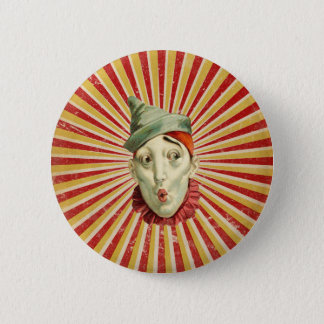 Schmollender Vintager Zirkus-Clown Runder Button 5,1 Cm