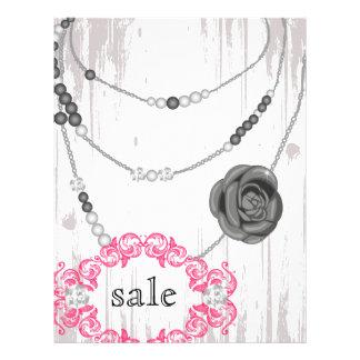 Schmuck-Flyer-Rosen-Halsketten-graues Rosa 21,6 X 27,9 Cm Flyer