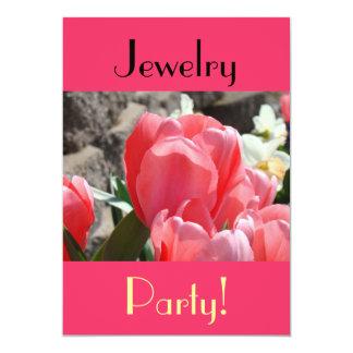Schmuck-Party! Einladungen Pink-Frühlings-Tulpen
