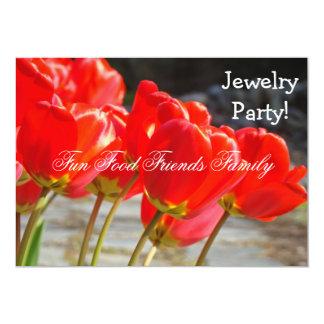Schmuck-Party! Einladungs-rote Tulpen eingeladen 12,7 X 17,8 Cm Einladungskarte