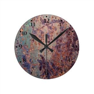 Schmutz-Blau verrostete Metallmuster Clockface 1 Wanduhr