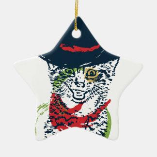 Schmutz-Cowboy-Katzen-Porträt 2 Keramik Stern-Ornament