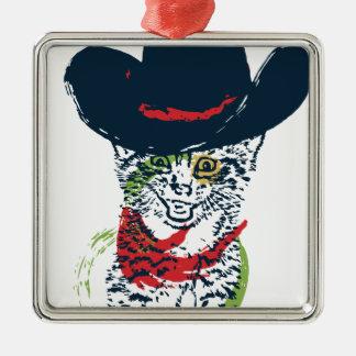Schmutz-Cowboy-Katzen-Porträt 2 Silbernes Ornament