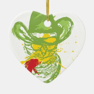 Schmutz-Cowboy-Katzen-Porträt Keramik Ornament