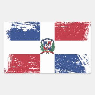 Schmutz-Dominikanische Republik-Flagge Rechteckiger Aufkleber