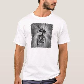 Schmutz-Fahrrad, das durch Schwarzes/Weiß startet T-Shirt