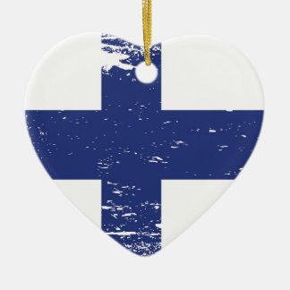 Schmutz-Finnland-Flagge Keramik Ornament