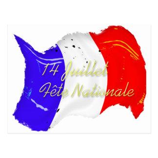 Schmutz-französische Flaggen-Postkarte Postkarte