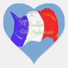 Schmutz-französischer Flaggen-Herz-Aufkleber Herz-Aufkleber