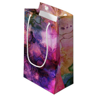 Schmutz-heller Aquarell-Tinten-Hintergrund Kleine Geschenktüte
