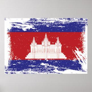 Schmutz-Kambodscha-Flagge Poster
