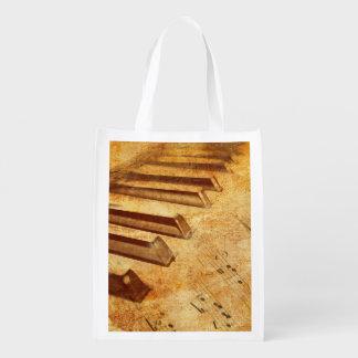 Schmutz-Musik-Blatt-Klavier-Schlüssel Wiederverwendbare Einkaufstasche