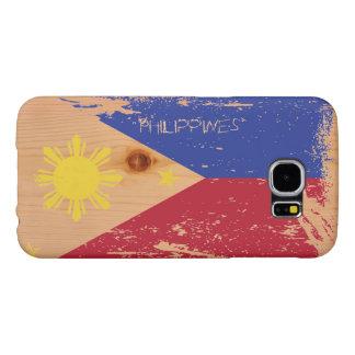 Schmutz-Philippinen-Flagge auf Holz