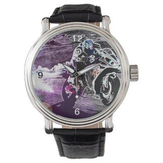 Schmutz radfahrender Motocross, der Uhr
