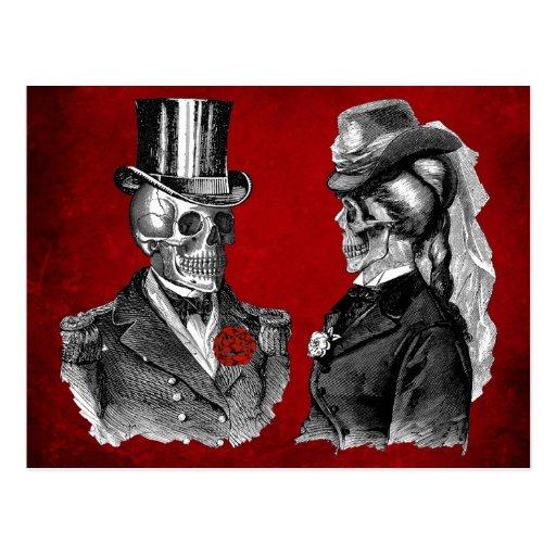 Schmutz-Schädel-Skelett-Paare Postkarte