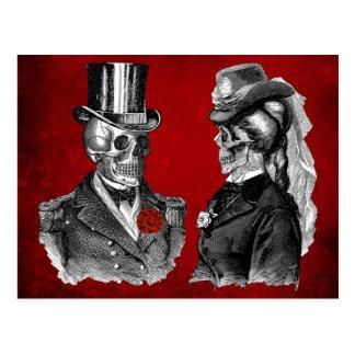 Schmutz-Schädel-Skelett-Paare Postkarten