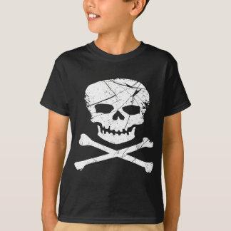 Schmutz-Schädel und Kreuz-Knochen-Tätowierung T-Shirt