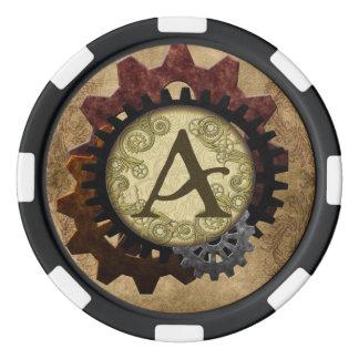 Schmutz Steampunk übersetzt Monogramm-Buchstaben A Poker Chips Set