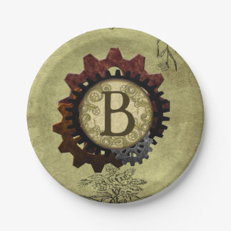 Schmutz Steampunk übersetzt Monogramm-Buchstaben B Pappteller