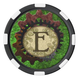 Schmutz Steampunk übersetzt Monogramm-Buchstaben E Poker Chips