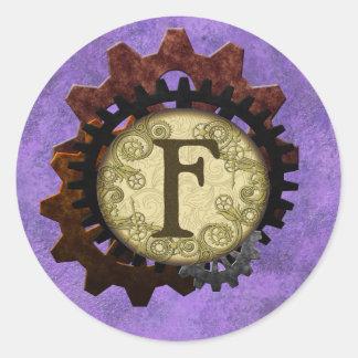 Schmutz Steampunk übersetzt Monogramm-Buchstaben F Runder Aufkleber