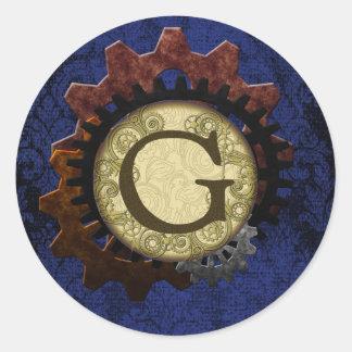 Schmutz Steampunk übersetzt Monogramm-Buchstaben G Runder Aufkleber