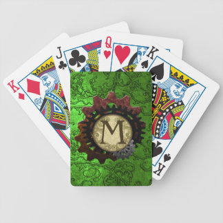 Schmutz Steampunk übersetzt Monogramm-Buchstaben M Bicycle Spielkarten