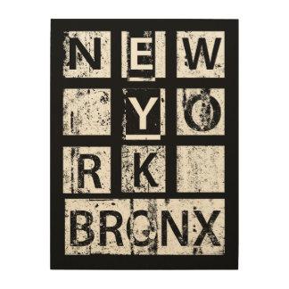 Schmutz-Typografie Bronx New York | Holzwanddeko
