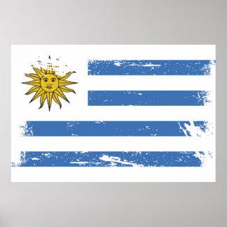 Schmutz-Uruguay-Flagge Poster