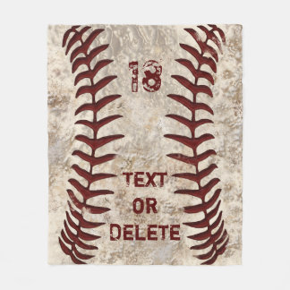Schmutzige Baseball-Decke mit IHRER ZAHL und NAMEN Fleecedecke