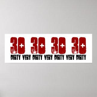 Schmutzige dreißig 30 Geburtstags-Party-Plakatgrun Plakatdrucke