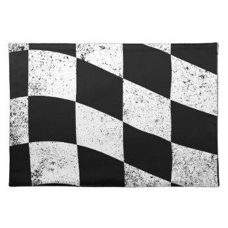 Schmutzige karierte Flagge Tischset