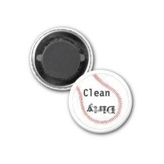 Schmutzige saubere Baseball-Spülmaschinen-Magneten Runder Magnet 3,2 Cm