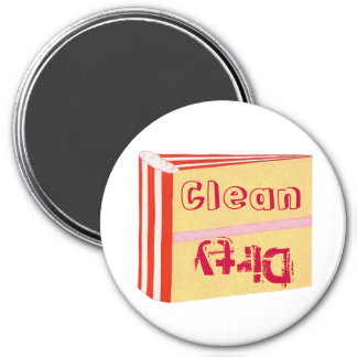 Schmutzige saubere Spülmaschinenmagneten, roter we Kühlschrankmagnet