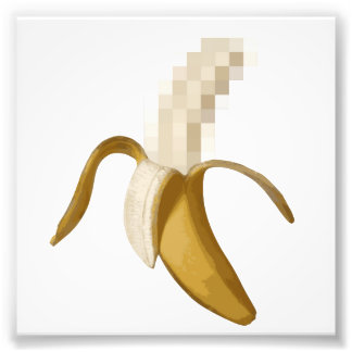 Schmutzige zensierte abgezogene Banane Foto