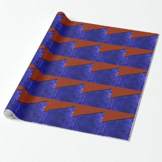 Schmutziger blauer und orange Riss Geschenkpapier