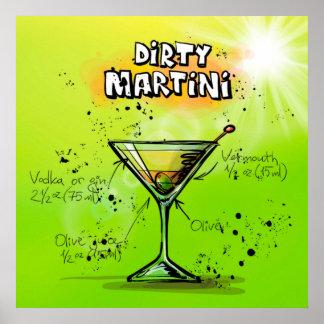 Schmutziges Martini-Plakat Poster