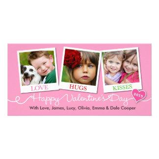 Schnappschüsse Liebe, Umarmungen, Kuss-Rosa des Fotogrußkarten
