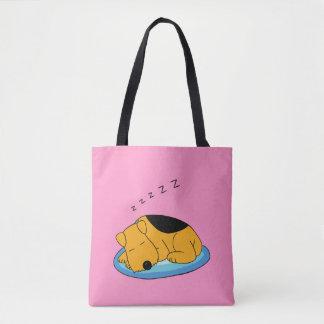 Schnarchender Airedale-Terrier verfolgen alle Tasche
