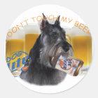Schnauzer tun nicht Touch mein Bier Runder Aufkleber