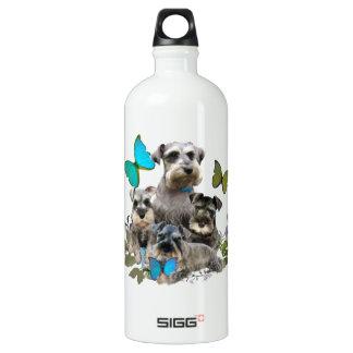 Schnauzer und Schmetterlinge und Kleid Aluminiumwasserflasche