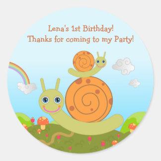 Schnecke-Geburtstags-Party danken Ihnen zu merken Aufkleber