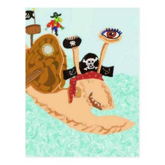 Schnecke-Pirat Magrid und alberner Sally-Papagei Postkarte