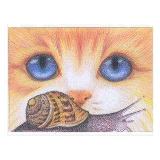 Schnecke und Katze Postkarte