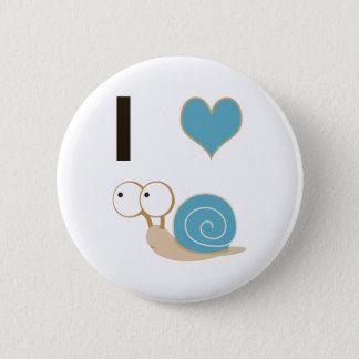Schnecken des Herzens I - Blau Runder Button 5,7 Cm
