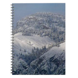 Schnee abgewischte Berge in SüdOkanagan Notizblock