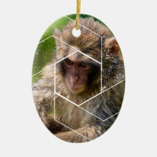 Schnee-Affe Keramik Ornament