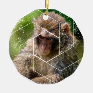 Schnee-Affe Rundes Keramik Ornament