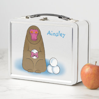 Schnee-Affe-Schneeball-Kämpfer-Brotdose Metall Lunch Box