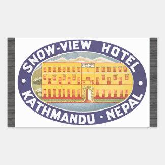 Schnee-Ansicht Hotel Kathmandu Nepal, Vintag Rechteckiger Aufkleber
